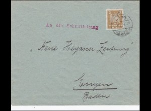 Perfin: Brief aus Lahr, 1925, MS