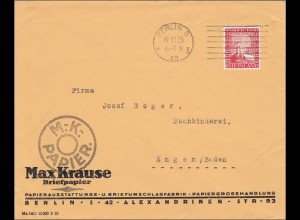 Perfin: Brief aus Berlin, Max Krause, Briefpapier, 1925, MK