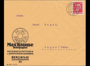 Perfin: Brief aus Berlin, Max Krause, Briefpapier, 1928, MK