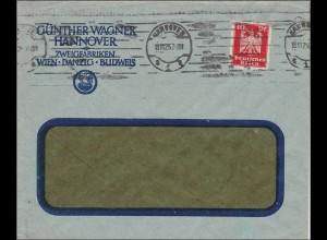 Perfin: Brief aus Hannover, Günther Wagner, 1925, GW