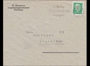Perfin: Brief aus Konstanz, Lagerhausgesellschaft, M. Stromeyer, 1930, M&K