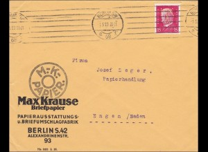 Perfin: Brief aus Berlin, Max Krause, Briefpapier, 1929, MK