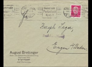 Perfin: Brief aus Stuttgart, August Brettinger, 1928, KNO