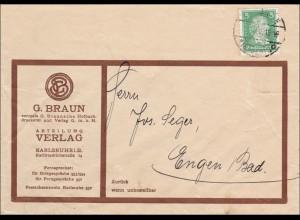 Perfin: Brief aus Karlsruhe, 1928, G. Braun,