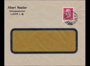 Perfin: Brief aus Lahr, Albert Nestler, 1929, A.N.