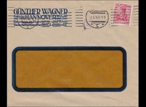 Perfin: 1914 Brief aus Hannover, Günther Wagner, GW