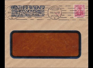 Perfin: Brief aus Hannover, Günther Wagner, 1915, GW
