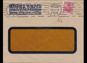 Perfin: Brief aus Hannover, Günther Wagner, 1914, GW