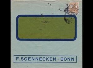 Perfin: Brief aus Bonn, F. Soennecken, 1916, FS
