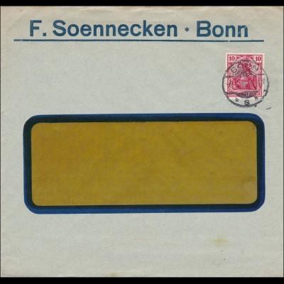 Perfin: Brief aus Bonn, F. Soennecken, 1914, FS