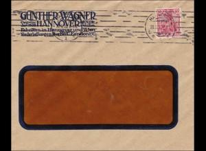 Perfin: Brief aus Hannover, Günther Wagner, 1916, GW