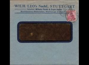 Perfin: Brief aus Stuttgart, 1921, Wilhelm Leos, LEO