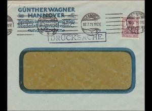 Perfin: Brief aus Hannover, Günther Wagner, 1921, GW