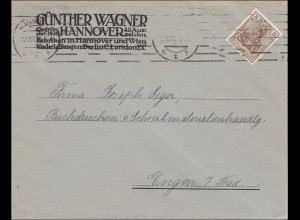 Perfin: Brief aus Hannover, Günther Wagner, 1917, Pelikan, GW
