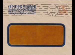 Perfin: Brief aus Hannover, Günther Wagner, 1918, Pelikan, GW