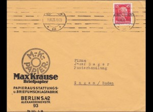 Perfin: Brief aus Berlin, Max Krause Briefpapier, 1929 MK