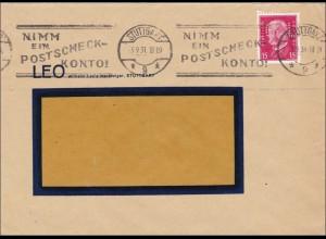 Perfin: Brief aus Stuttgart, Werbestempel, Postscheckkonto 1931, LEO