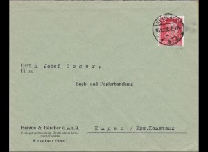 Perfin: Brief aus Kevelaer/Rheinland, Butzon&Becker, 1928, BB