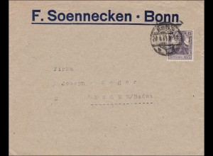 Perfin: Brief aus Bonn, F. Soennecken, 1921, FS