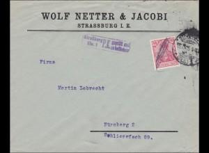 Perfin: Brief aus Strassburg, Wolf & Jacobi, Geprüft 1915, WNJ