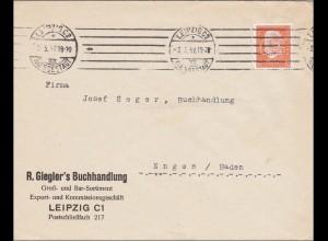 Perfin: Brief aus Leipzig, Gieglers Buchhandlung, 1932, GS