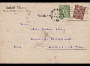 Perfin: Postkarte, Rudolf Flume, Berlin, 1927, RF nach Lausch, Thüringen