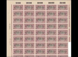 Deutscher Wechselstempel 5000 Mark, ** im Bogen