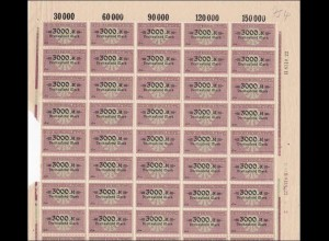 Bogen: Deutscher Wechselstempel 3000 Mark, **