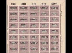 Bogen: Deutscher Wechselstempel 2000 Mark, **