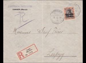 Marokko: Einschreiben aus Tanger 1911 nach Leipzig