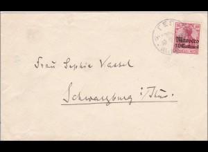 Marokko: Brief aus Fes 1908 nach Schwarzenberg/Thüringen