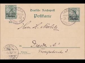 Marokko: Ganzsache von Tanger nach Dresden 1902