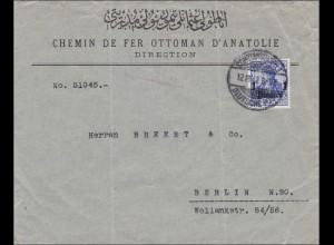 Türkei: Brief von Constantinopel-Eisenbahn nach Berlin 1912, Vignette