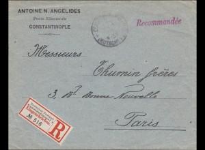 Türkei: Einschreiben Brief Deutsches Postamt Constantinopel nach Paris 1904