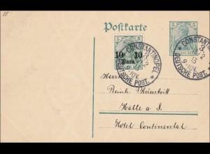 Türkei: Ganzsache Constantinopel 1913 nach Halle