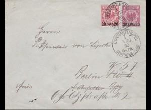 Türkei: Ganzsache - Brief aus Constantinopel 1890 nach Berlin