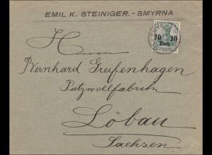 Türkei: Brief von Smyrne nach Löbau 1908
