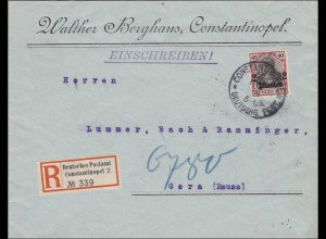 Türkei: Einschreiben Brief von Constantinopel nach Gera 1914