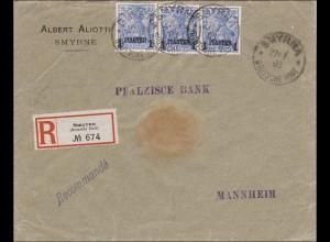 Türkei: Einschreiben Brief von Smyrna nach Mannheim 1903, 14II