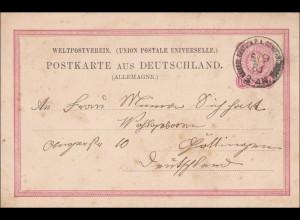 Türkei: Ganzsache Constantinopel nach Göttingen 1883, VP8
