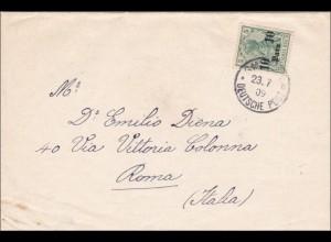 Türkei: Brief von Smyrne nach Rom/Italien, 1909, Streifband ins Ausland