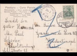 Türkei: Ansichtskarte: Gruss aus Berlin nach Konstantinopel 1908, Taxe