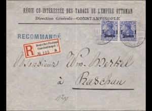 Marokko: Brief Einschreiben von Constantinopel nach Baschau 1911
