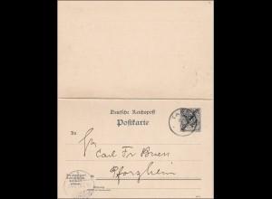 DOA: Ganzsache aus Tanga, P7, nach Pforzheim 1900, mit Antwort