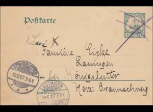 DOA: Ganzsache nach Königslutter und Lauingen 1907