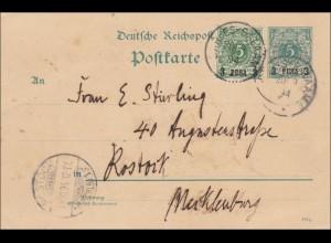 DOA: Ganzsache von Dar-es-Saalam nach Rostock 1894