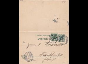 DOA: Ganzsache von Dar-es-Saalam nach Frankfurt/M 1898 mit Antwort