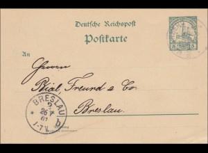 DSWA: Ganzsache aus Waterberg 1901 nach Breslau