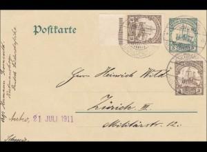 DSWA: Ganzsache von Ketmanshoog 1911 nach Zürich