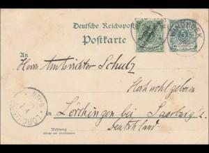 DSWA: Ganzsache von Windhoek 1899 nach Lörchingen/Saarburg